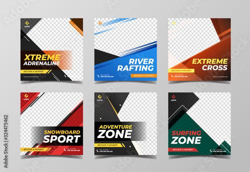Fotomural Extreme sport square banner template
