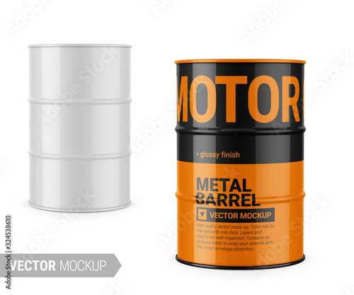 Billede på lærred White glossy metal barrel mockup template.