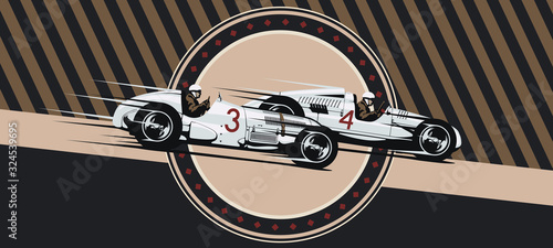 Vintage vector cars in race.