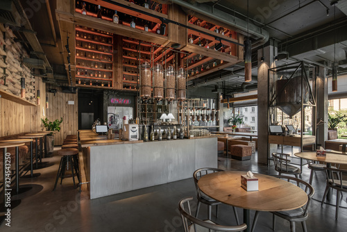 Slika na platnu Interior of modern cafe in loft style