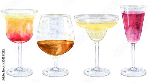 Fotografia, Obraz Watercolor collection of cocktails.