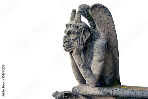 Fotografia, Obraz Gargoyle or Chimera of Notre Dame Cathedral in Paris, France isolated on white B
