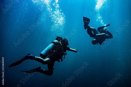 Obraz na plátne Scuba diver reaching its diving partner in deep blue sea