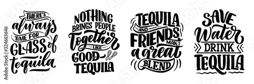 Set with lettering quotes about tequila in vintage style Fototapeta
