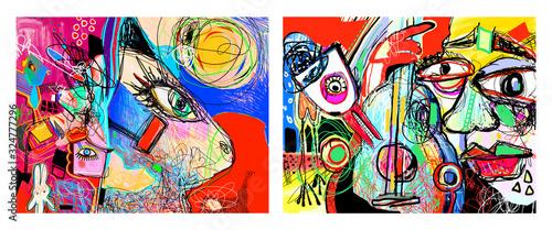 set of two original contemporary art composition