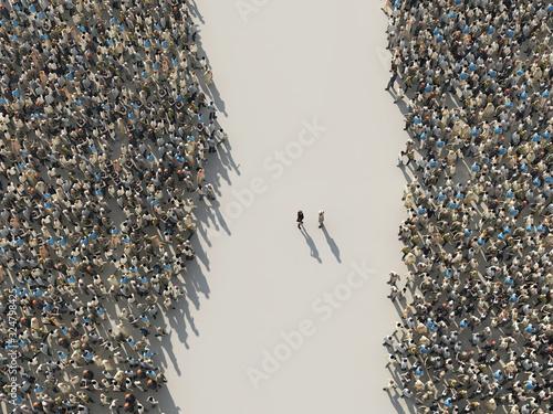 Obraz na plátně two opposition groups of people