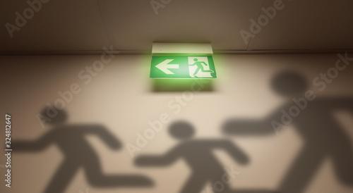 Obraz na płótnie Panic and escape in the building - shadows of symbol men