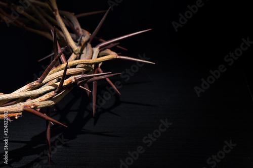 Fényképezés Crown Of Thorns On A Black Background