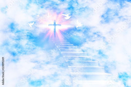 Tablou Canvas Stairs leading to the sky with cross and flying doves