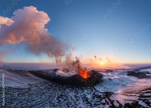 Fotografia Aerial view of Tolbachik volcano eruption