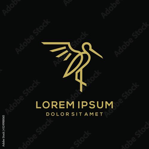 Canvas Print heron pelican stork vector logo lineart line outline monoline icon design stock
