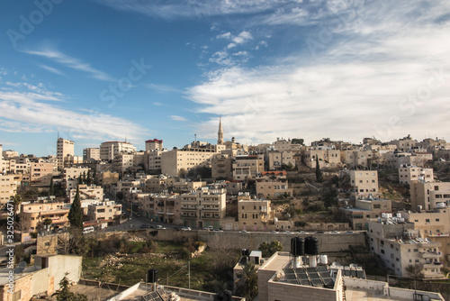 View of Bethlehem in the Palestinian Authority from the Hill of David Fototapete