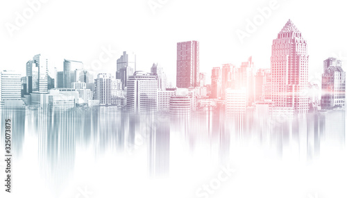 Foto Abstract city building skyline metropolitan area in contemporary color style and futuristic effects