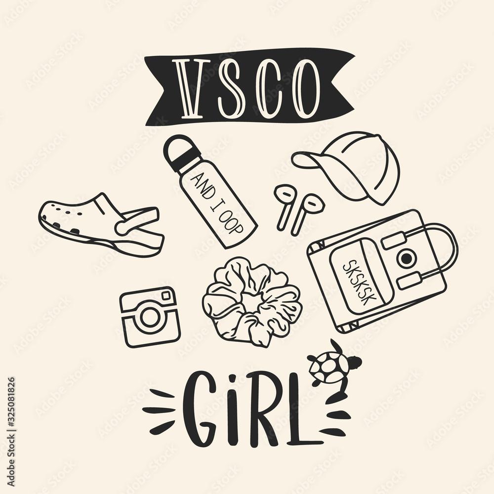 VSCO girls, sea turtles, scrunchies and water bottles. Trendy shirt design for vsco girls <span>plik: #325081826   autor: Viks_jin</span>