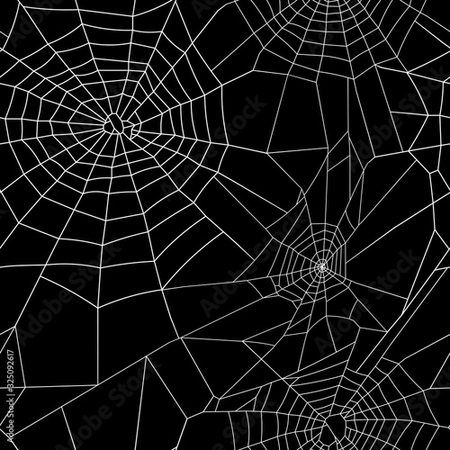 Fototapeta Halloween seamless pattern of spiderweb with black background vector colorful il
