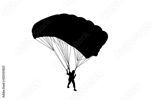 Wallpaper Mural Silhouette Skydiver in sky on white background