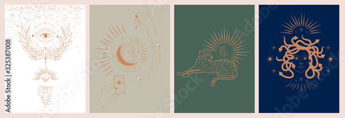 Fotografia Collection of mythology and mystical illustrations in hand drawn style