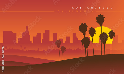 Fotografie, Obraz Los Angeles skyline during the sunset, viewed from the distance