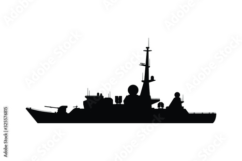 Canvas-taulu Battle ship silhouette vector, military transportation