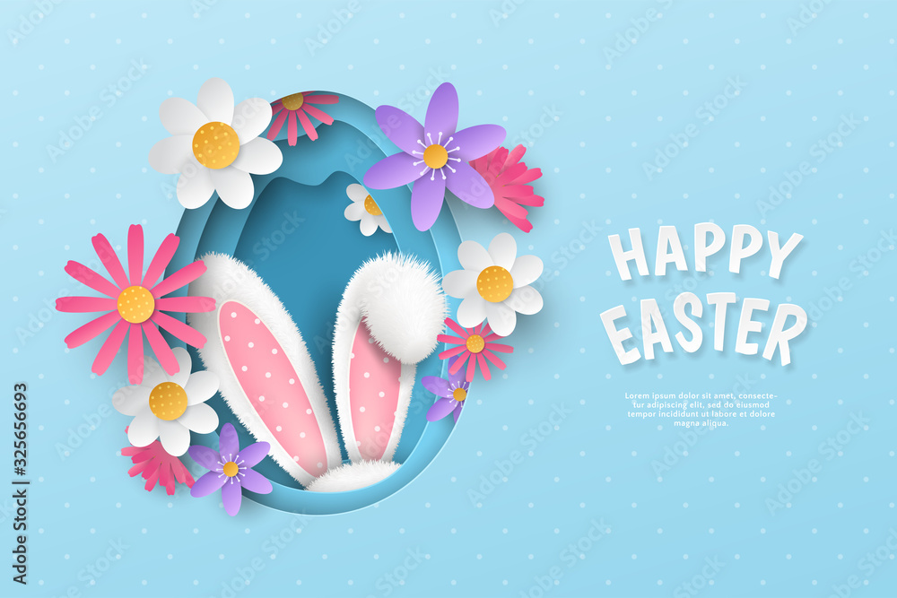 Vector cute festive horizontal banner with layered cut out paper egg, realistic 3D fur ears of bunny and flowers on blue background. Holiday childish template with text Happy Easter for greeting card. <span>plik: #325656693 | autor: aerynrei</span>