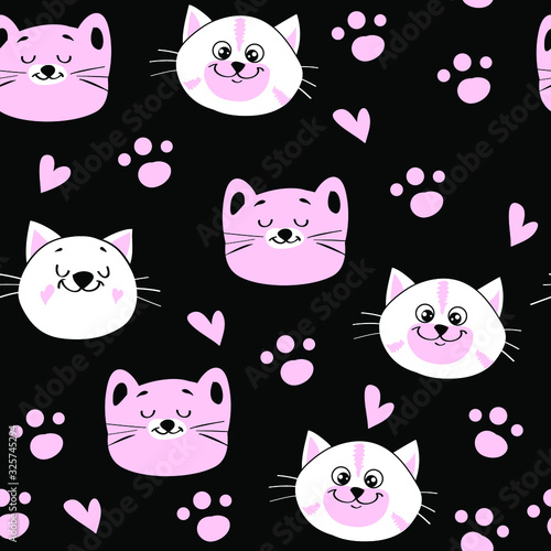 Cute head of white and pink cats in kawaii style on a black background seamless pattern for children