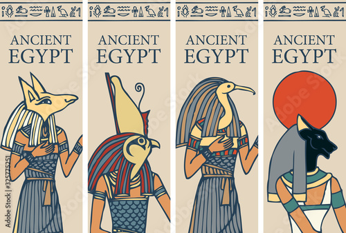 Canvas Print Set of vector posters or flyers for travel agency with Egyptian hieroglyphs and inscription Ancient Egypt