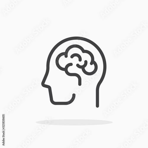 Leinwand Poster Human brain icon in line style. Editable stroke.