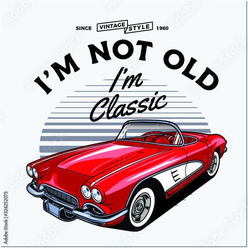 vector illustration of red vintage car on white background