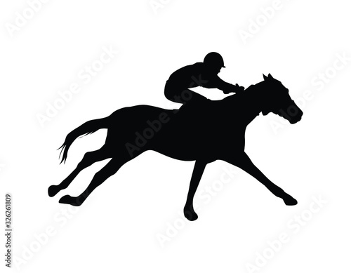 Silhouette racing horse with jockey on a white background Fototapeta