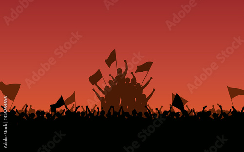 Fototapeta Silhouette group of protester Raised Fist and flags in flat icon design with eve