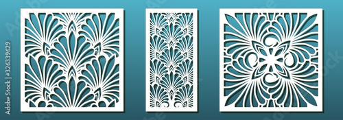Stampa su Tela Laser cut pamels template, vector set