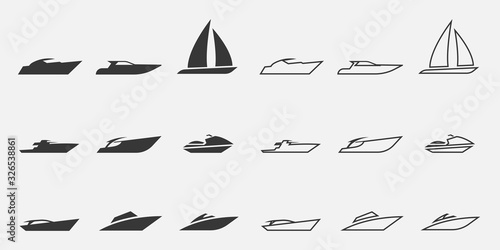 Billede på lærred sailing boat icon set water transport yacht and speed boats line and solid icons
