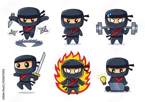Wallpaper Mural black Ninja cartoon collection in various poses set