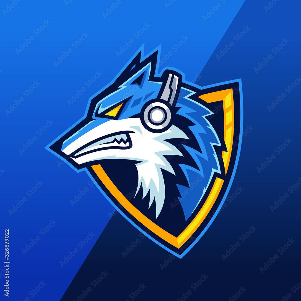 Beast Wolf wearing headphone mascot logo design <span>plik: #326679022 | autor: Rexcanor</span>