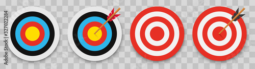 Fotografiet Archery target with arrow. Vector illustration.