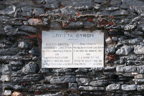 Canvas Print Portovenere, Italy: commemorative plaque to Lord Byron, English poet who swam th