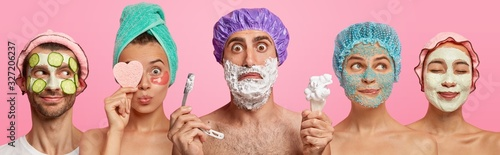 Fotografia Collage shot of five people have hygienic and cosmetic procedures to look young and beautiful