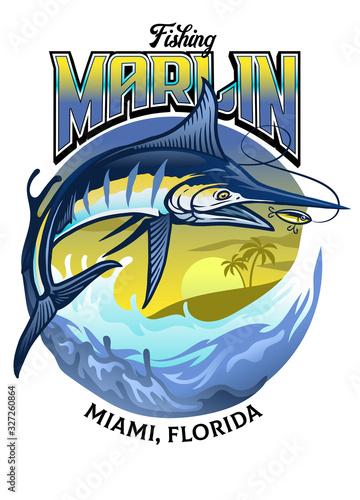 Fotografia shirt design of fishing the marlin fish