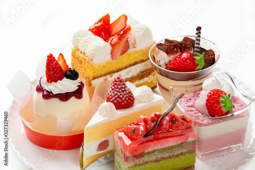 イチゴを使った色々なケーキ Tapéta, Fotótapéta