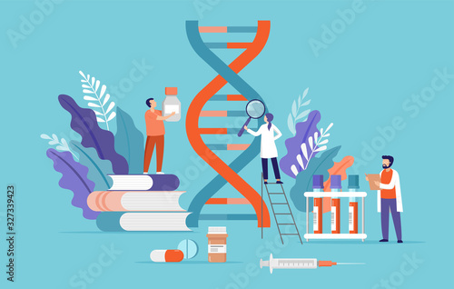Research scientist. Science laboratory, chemistry scientists and clinical lab. Medical research items, clinical science laboratories experiments. Dna, genetic test concept vector illustration