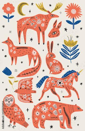 Canvas-taulu Modern folk tribal boho patterned animals in Scandinavian style