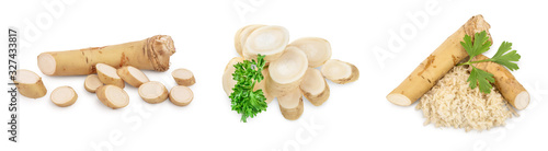 Fotografiet Horseradish root with slices and parsley isolated on white background