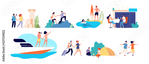 Vacation activities. Women family travel adventures. Water sports, active lifestyle and ocean coast. Sightseeing, hiking tourism vector set. Adventure tourism, vacation and travel, trip and journey