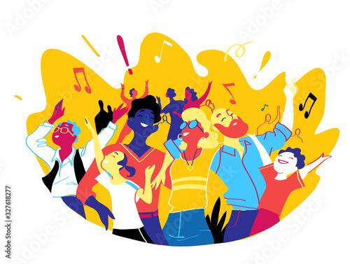 Fotografie, Tablou Gruppo di persone felici di diversa età sta insieme per celebrare un evento speciale