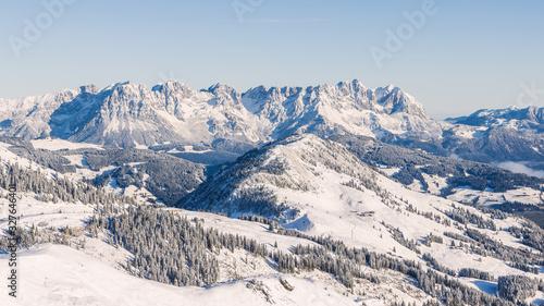 Snow Montains in Tyrol, Austria. Wilder Kaiser, Kaisergebirge Mountain View in Winter