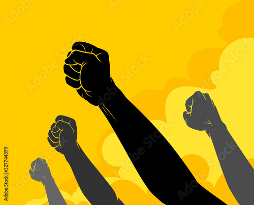 Canvas Print Revolting Fist Silhouette, People Resisting Policy