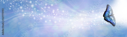 Foto Blue Spiritual Sparkle Butterfly Message Banner - wide gaseous flowing glitterin