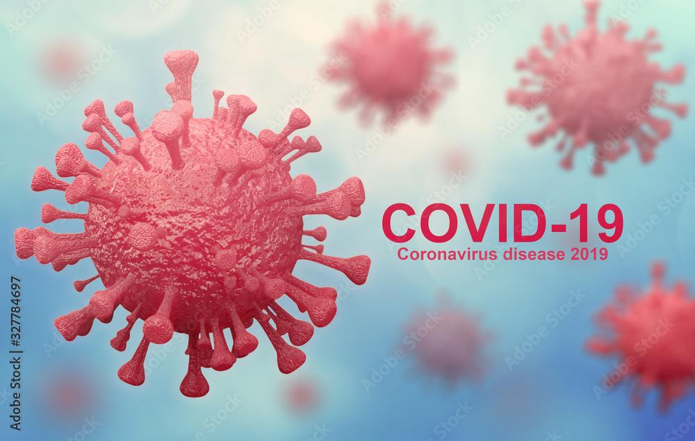 coronavirus name covid 19 isolated on white background - 3d rendering <span>plik: #327784697 | autor: Near</span>