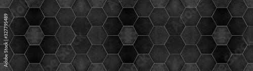 Fotografie, Obraz Black anhracite modern tile mirror made of hexagon tiles texture background bann