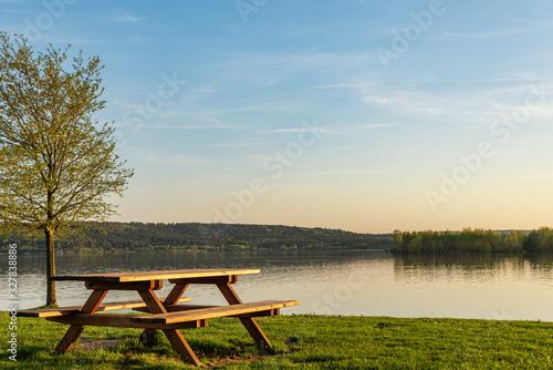 bench on the lake Fototapeta